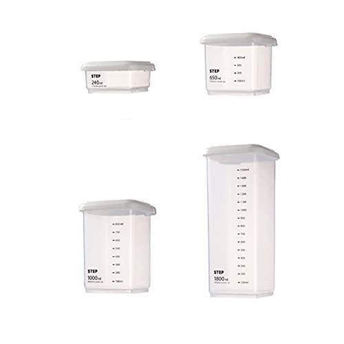 Batchelo Juego de 4 tarros de comida sellados, caja de almacenamiento, latas transparentes, escala para el hogar, cocina, refrigerador, conservación fresca, diferentes tamaños