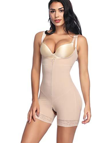 Feelingirl Damen-Shapewear, nahtloser Body – figurformende Unterwäsche, offene Brust, hohe Taille, mit Reißverschluss Gr. 38-40, Beige-41