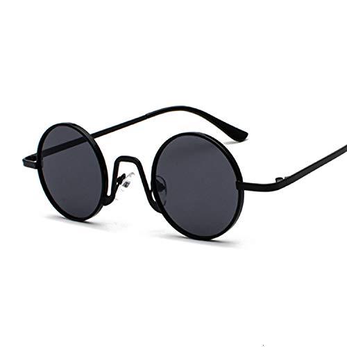 Gafas de sol redondas de color rojo vintage para mujer y hombre, diseño de moda, gafas de sol femeninas y masculinas retro marco pequeño círculo Hip Hop (lente color: negro gris)