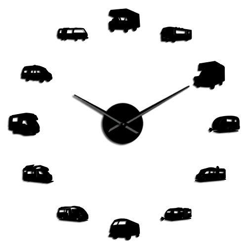 YQMJLF Reloj Pared DIY 3D Grande Camper Bus Motor decoración del hogar RV Camping DIY Reloj de Pared silencioso Gigante Remolque de Viaje Transporte Vehículos recreativos Reloj de Pared Negro
