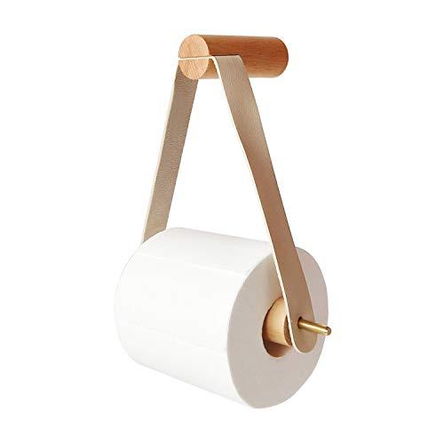 PUPOUSE Portarrollos de papel higiénico de madera,  portarrollos de papel higiénico para cuarto de baño,  retro,  soporte de pared para rollos de papel higiénico (01)
