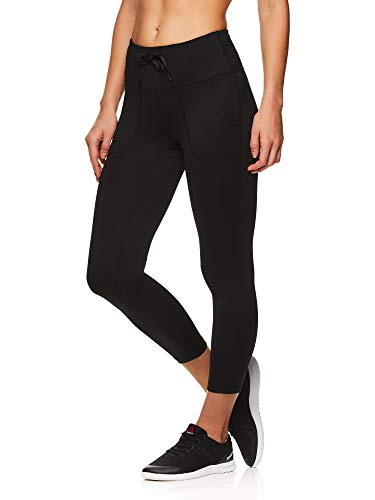 Reebok Women's Printed Capri Leggings with Mid-Rise Waist Cropped Performance Compression Tights - Momentum Black, Large