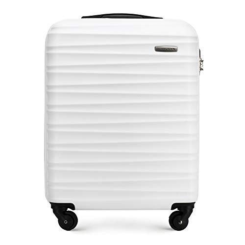 Stabiler Handgepäck Trolley Koffer Reisekoffer von Wittchen Weiß ABS Hartschalen Trolley 4 rollen Kombinationsschloss