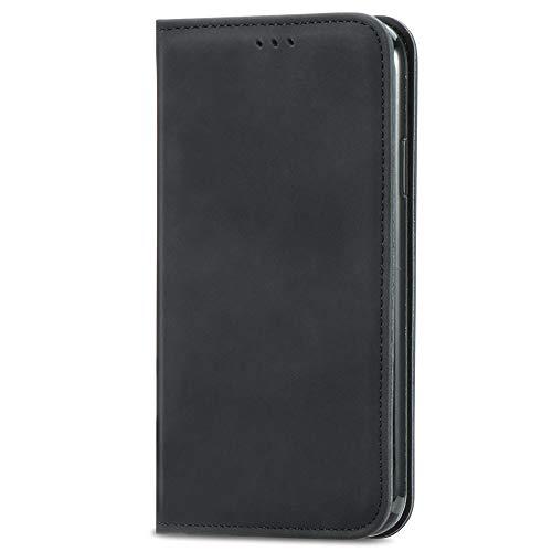 GOGME Passend für Samsung Galaxy A32 4G Hülle, hat Magnet-Adsorption-Fähigkeit Premium PU Leder Handyhülle. Schwarz
