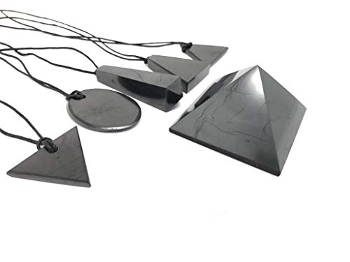 Karelian Heritage Authentic Shungite Stone Pendant and Black Crystal Pyramid Protection Set (6 items) S004