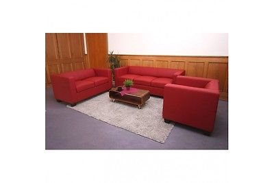 3-2-1 Sofagarnitur rot Spaltleder Couchgarnitur Loungesofa Couch Sofa modern