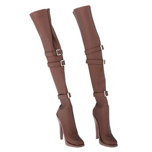chiwanji Figura de Acción Botas Zapatos sobre La Rodilla Estilo Y Juguetes de Diseño de Tacón Alto - marrón