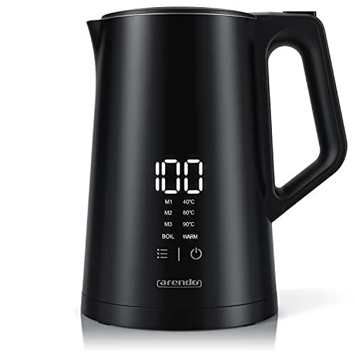 Arendo – Edelstahl Wasserkocher mit Temperatureinstellung – Display im Gehäuse – 1,5L – Version mit 2200 W…