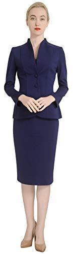 Marycrafts Women's Formal Office Business Work Jacket Skirt Suit Set 6 Dark Blue