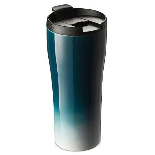 Ceramic Coffee Mug, ZONESUM Double Wall Coffee Mug, Dishwasher Microwave Safe, Anti-scald, To Go Tumbler for Car Cup Holder, Easy Grip, 14oz Porcelain Coffee Tea Mug for Pure Taste