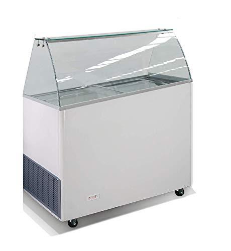 Mobile Eisvitrine | Speiseeisvitrine | Eistheke | Speiseeisverkaufstheke inkl. 6 x 5 Liter Behälter | mit Glasaufsatz und gebogener Frontscheibe Statische Kühlung auf Rollen 909x644x1229mm