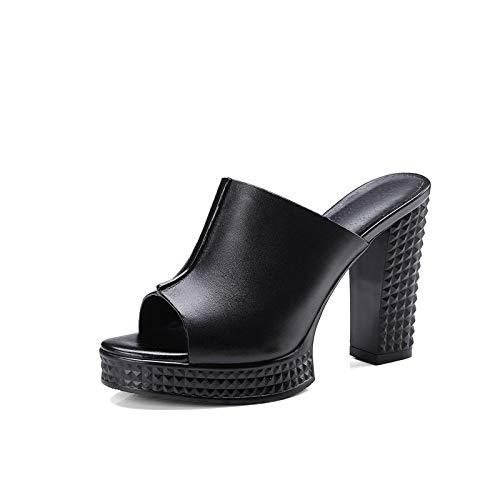 ZYMDD schoenen met hoge hakken, leder ruw met het woord slepen vrouwelijke zomer zwarte sandalen met hoge hakken dressing schoenen witte pantoffels
