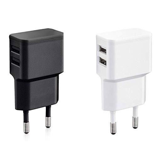 Wicked Chili 2 Cargadores con Doble USB de Carga rápida Universal para Smartphone, Smart Watch, Powerbank y Altavoz Bluetooth - Cargador de Pared con 2 Puertos USB de 90° (12W/2,4A) Blanco y Negro