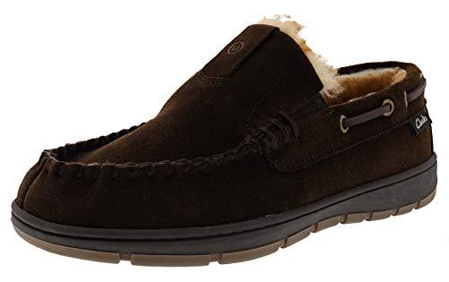 Clarks Men's Justin Indoor Outdoor Faux Fur Slippers (12 M US, Brown Suede)