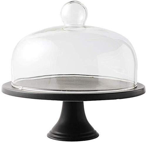 Soporte para tartas Plato para tartas vintage, base alta Bandeja de degustación de aperitivos de cerámica Cubierta de conservación de alimentos Cúpula de cristal Cúpula para sándwich de queso Soporte