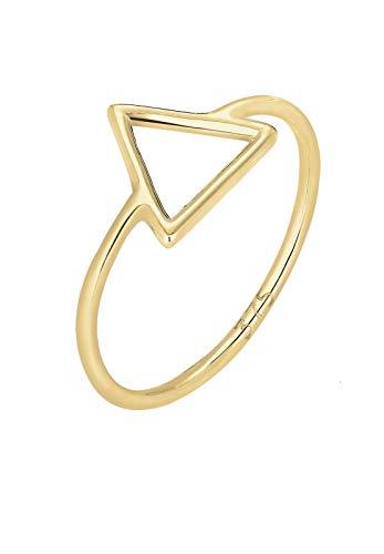 Elli PREMIUM Ring Damen Dreieck Geo Trend Basic in 375 Gelbgold