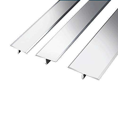 NIBABA Easy to Install Alfombra de Perfil Transición Transición Trazo Laminado T Forma Puerta de Aluminio Playa Barras de Piso Tira de umbral Aluminum Alloy Floor Strips (Color : Silver, Size : 25mm)