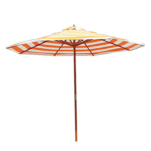 Sombrilla Terraza Parasol Jardin Jardín Rayado Sombrilla de Playa con Poste de Madera, Patio Portátil de 9 Pies Paraguas de La Sombra del Sol Protección UV 50+ Sunbrella, para Exterior/Césped/Pisc