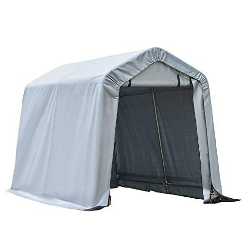 Outsunny 8'x6' Outdoor Storage Shelter with Rollup & Zipper Door, Heavy Duty Carport Shed for Motorcycle Garden Storage, Grey