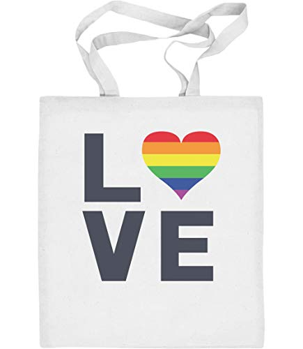 LGBT Gay Pride Regenbogen Herz Love Flagge Jutebeutel Baumwolltasche One Size Weiß