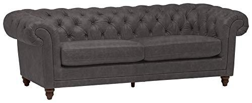 "Stone & Beam Bradbury Chesterfield Tufted Leather Sofa Couch, 92.9""W, Black"