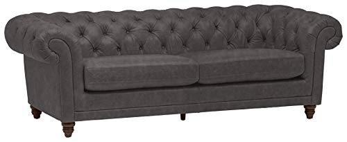Amazon Brand – Stone & Beam Bradbury Chesterfield Tufted Leather Sofa Couch, 92.9'W, Black
