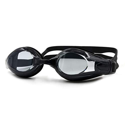 Zwembril voor mannen en vrouwen, volwassenen, groot frame, HD, transparant, waterdicht en beslaat niet, zwart