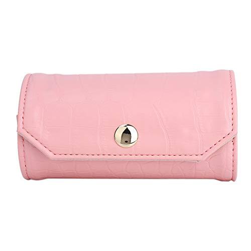 OIHODFHB Organizador portátil de cuero elegante del bolso del rollo del almacenamiento de la joyería para viajar