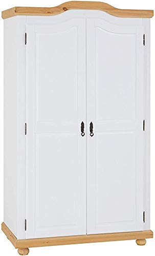 Jane Beautiful Home Plate Solid Wood Wardrobe Simple Wardrobe Children's Wardrobe American Country Two Door Wardrobe,White Brown
