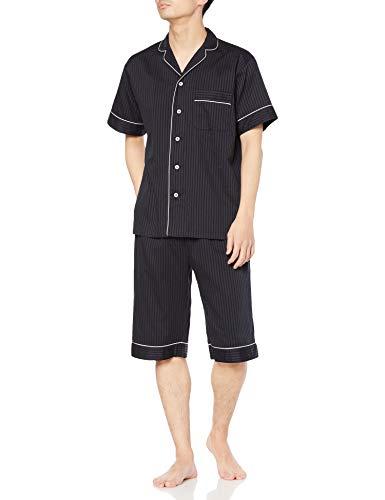 [グンゼ] パジャマ KaiminNavi 快眠ナビシルク入り 半袖6分丈パンツ シルク入りフハク メンズ ブラック L