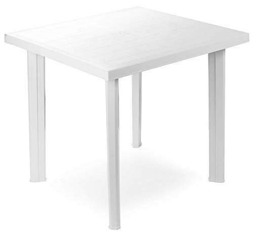 Tavolo tavolino quadrato in resina di plastica bianco Fiocco per esterno