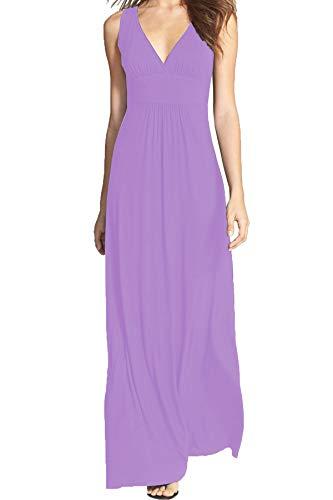 WOOSEA Women Sleeveless Deep V Neck Loose Plain Long Maxi Casual Dress Lavender