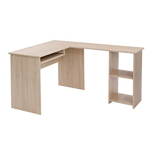 VASAGLE Computertisch in L-Form, Schreibtisch, Eckschreibtisch mit 2 Ablagen, 60 x 30 cm große Tastaturablage, fürs Büro und Arbeitszimmer, 140 x 120 x 75 cm, eichenfarben LCD810N01