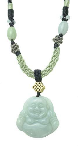 glücklicher Buddha Milchig-Weiß Jade Halskette, mit handgeknüpfte Kordel 40-70 cm - Fortune Jade Schmuck
