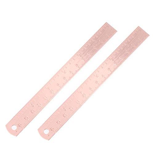 NUOBESTY Metall gerade rular multifunktionale Lineale Student Messwerkzeug Schulbedarf Handwerk Holzbearbeitungswerkzeuge Zubehör - 2St, Roségold