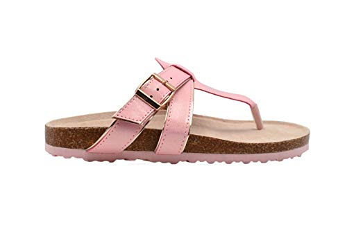 Rampage Girls Big Kid PU Shimmer Footbed Slide Sandal with Metallic Buckle Strap - Fashion Summer Shoes Light Pink-4