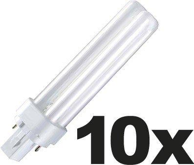 Osram 10x DULUX D Energiesparlampe 2-PIN (G24d1) 13W/840 - Hellweiß - 138mm