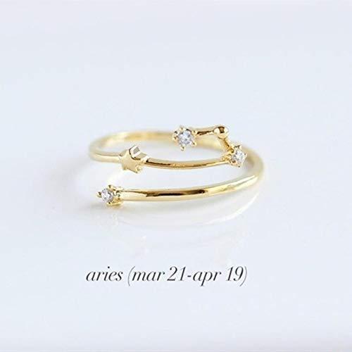 LIUL 12 Sternbild Ring Einfache Kristall Zirkon Waage Zwillinge Stier Krebs Widder Verstellbare Ringe Für Frauen Geschenke, Wassermann, Roségold