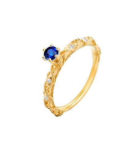 AueDsa Anillo Mujer Azul Anillos de Oro Mujer 18 Kilates Redondo con Zafiro Azul 0.283ct Diamante 0.053ct Anillo Talla 9,5
