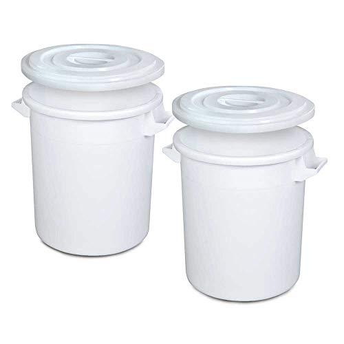 BRB 2X Kunststofftonne 75 Liter mit Deckel, lebensmittelecht, Polyethylen-Kunststoff (PE-HD), weiß