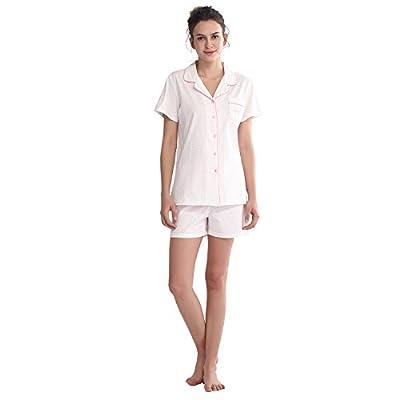 Keyocean Juniors Pajama Sets All Cotton Women Short-Sleeve Sleepwear, Soft Pajama Short Sets, X-Large by Keyocean