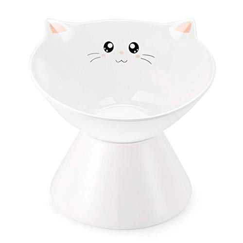 Lollimeow Ceramic Raised Cat Bowls, Elevated Food or Water Bowls, Stress Free, Backflow Prevention, Dishwasher and Microwave Safe, Lead & Cadmium Free(Large_SmileFace)