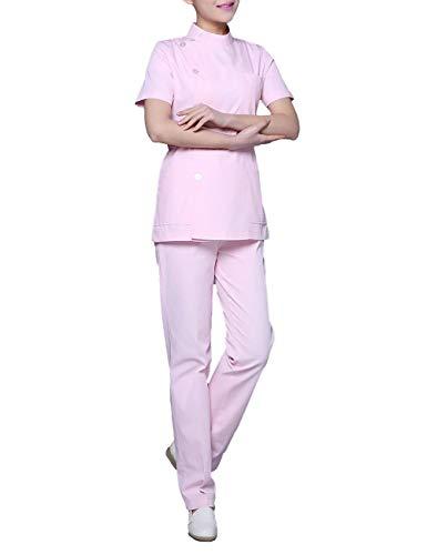 Feynman Uniforme de Enfermero Enfermera Hospital Chaqueta Fregadera Bata de Laboratorio Vestido Cosplay Azul S