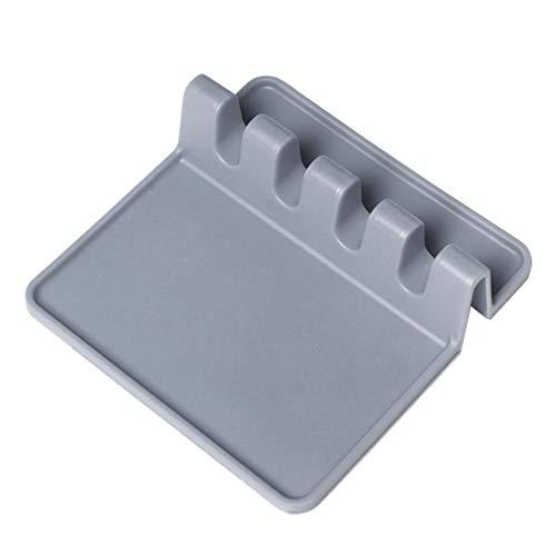 Soporte de cuchara de silicona para estante de cubiertos de cocina Cuchara cuadrada Soporte de drenaje - gris