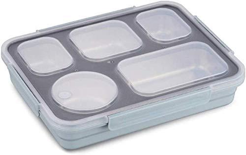 Pkfinrd Lunch BoxStudent White-Collar Compartiment lekt geen voedsel of mengt milieuvriendelijke Bento-dozen met bestek Verenigde Staten Blauw 5 vakken