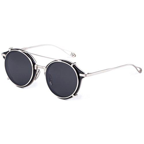 Dollger Steampunk Sonnenbrille MäNner Vintage Uv400 Schutz Runde Metall Rahmen AußEn Fahren Angeln Aufstecksonnenbrille(Silber schwarz)