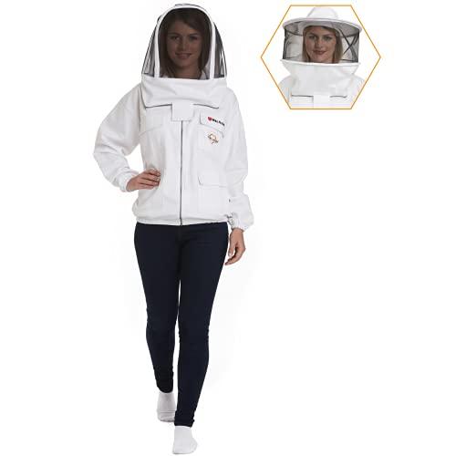 NATURAL APIARY - Max Protect – Veste d'apiculteur – Blanc – Taille XS – (une pièce) – Voile de clôture transparent – Protection maximale – Apiculteurs professionnels et débutants.