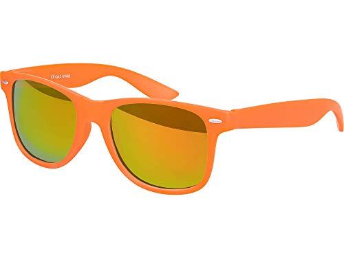 Balinco Hochwertige Nerd Sonnenbrille Rubber im Retro Stil Vintage Unisex Brille mit Federscharnier - 96 verschiedene Farben/Modelle wählbar (Orange - Rot/Orange verspiegeltverspiegelt)