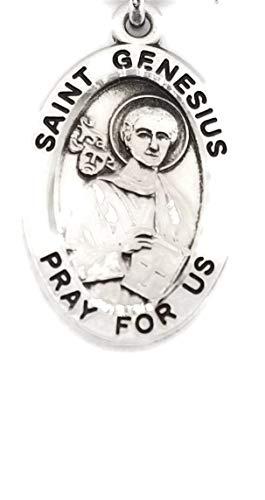 (3 7/18) BERTOF 聖ジェネシス スターリングシルバーメダル 7/8インチ 楕円形 チェーン付き ポール・ハーバートの祝福 SILPATRON シリーズ