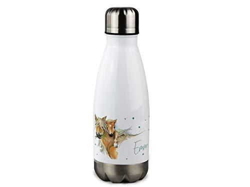 GRAZDesign Trinkflasche Kinder - Kinderflasche personalisiert mit Namen, für Kindergarten, Schule, Ausflüge - Isolierflasche Pferd mit Fohlen – 350ml